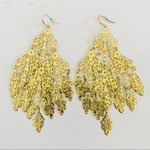 "NEW Oversized Gold Chandelier Earrings 5"" Long"